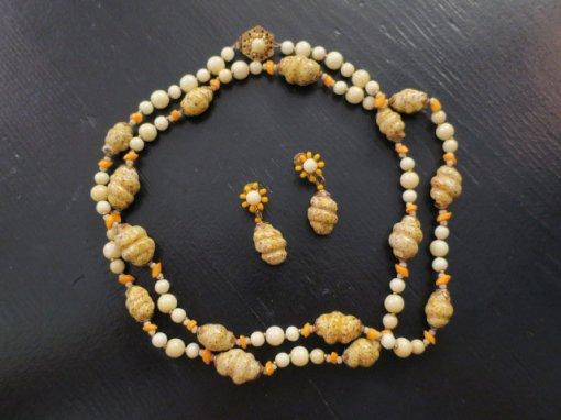 ミリアムハスケル 卵色のネックレスとイヤリングのセット(S6942)