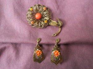 ART社 お花のブローチと揺れるイヤリングのセット(S7848)