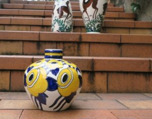 keramis アールデコ黄色い花の花瓶(aaa19)