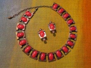 matisse マティス 赤い丸のネックレス&イヤリングセット(S8414)