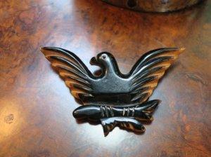 ベークライト 黒い鳥のブローチ(S8223)