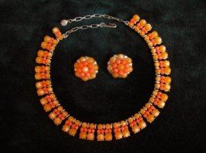 オレンジの粒粒 ネックレス&イヤリングセット(S5972)