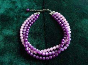 ヴィンテージ パール感のある紫の3連ネックレス(S6138)