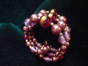 ヴィンテージ 紫の3連ブレスレット(S6158-3)