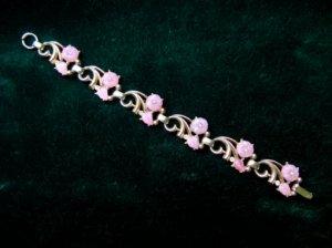 ヴィンテージ ピンクのお花のブレスレット(S5966)