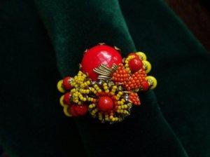 ミリアムハスケル 赤・黄・オレンジグラスフラワーバングル(S6885-2)