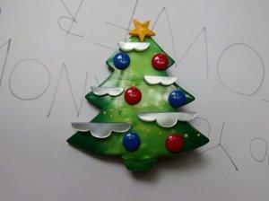 Pavone クリスマスツリーのブローチ 雪 緑(S6953)