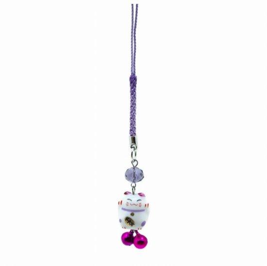 風水カラー 紫色 ミニ猫ストラップ 全体運アップ