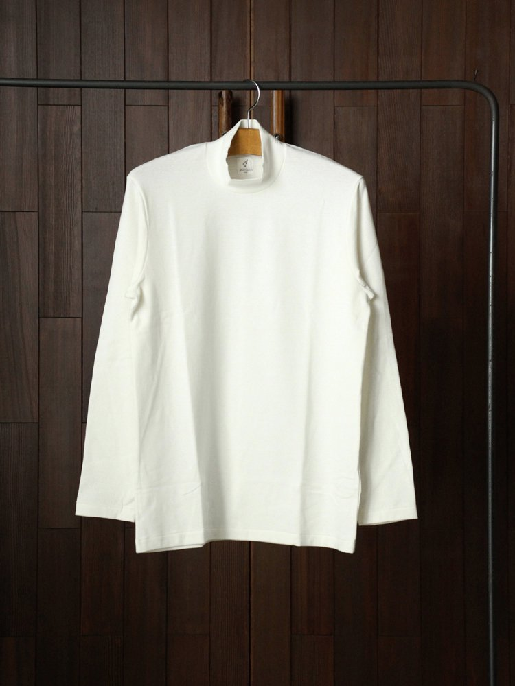 ANATOMICA|MOCK NECK TEE L/S #WHITE