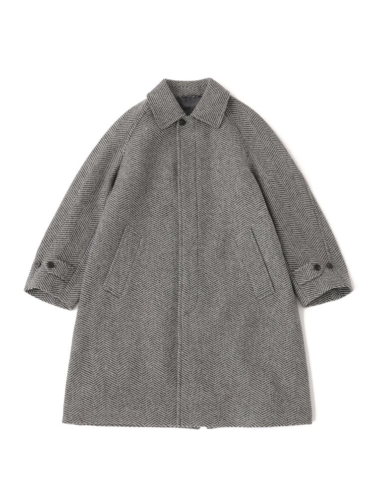 Phlannel|Mix Tweed Balmacaan Coat #Gray
