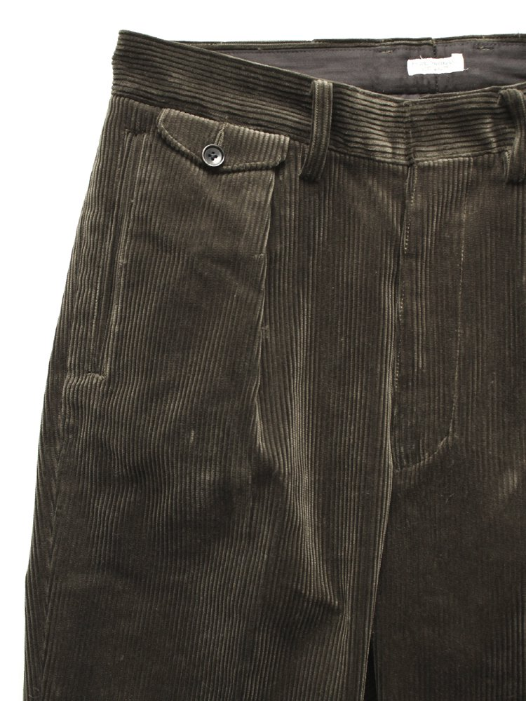 CORDUROY WIDE TROUSERS #BLACK GREEN