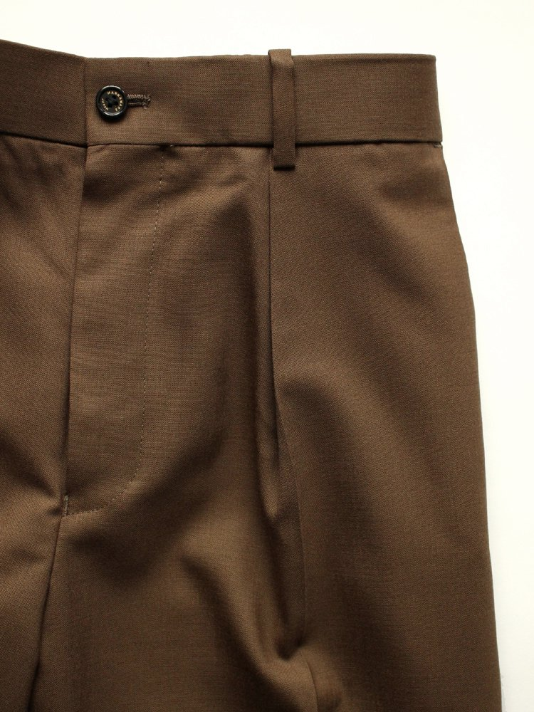 FRONT PLEATS PEGTOP #OLIVE BROWN