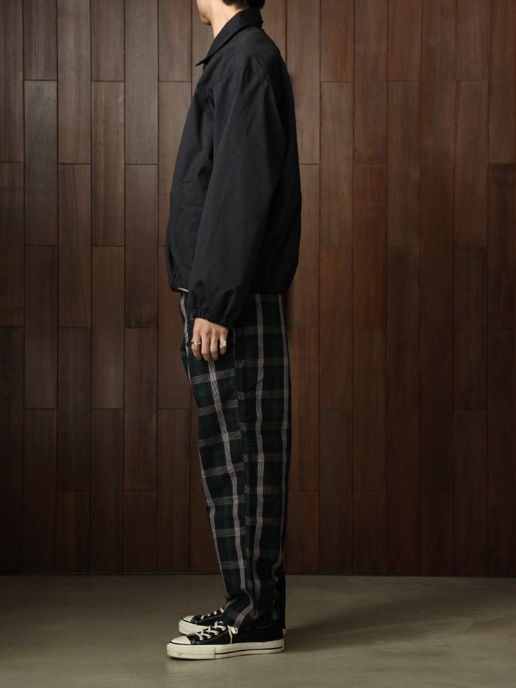 Twill Check Wide Field Pants #Navy