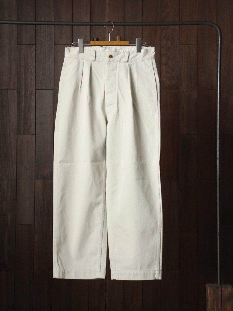 Phlannel Cool Cotton Chino Fatigue Trousers #White Smoke