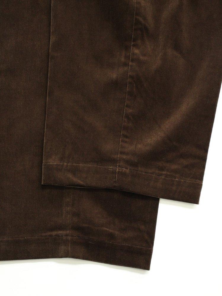 Cotton Velveteen Easy Trousers #Brown