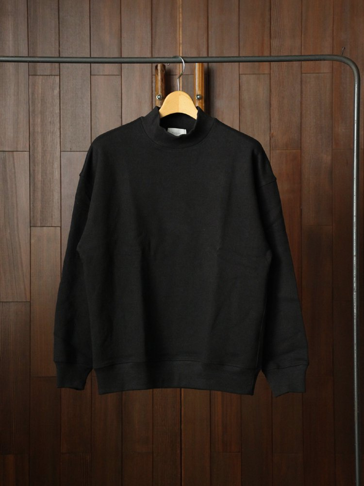 Phlannel|Wool Cotton Mock-neck Sweat Shirt #Black