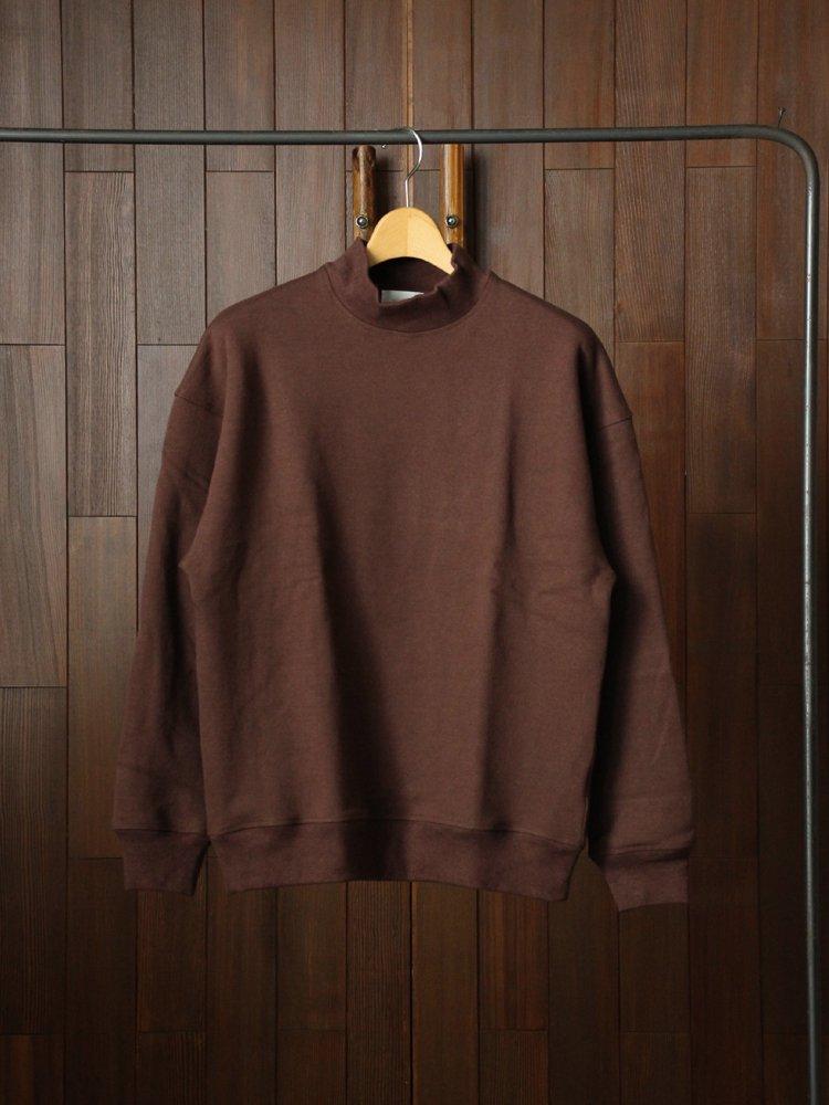 Phlannel|Wool Cotton Mock-neck Sweat Shirt #Maroon Brown
