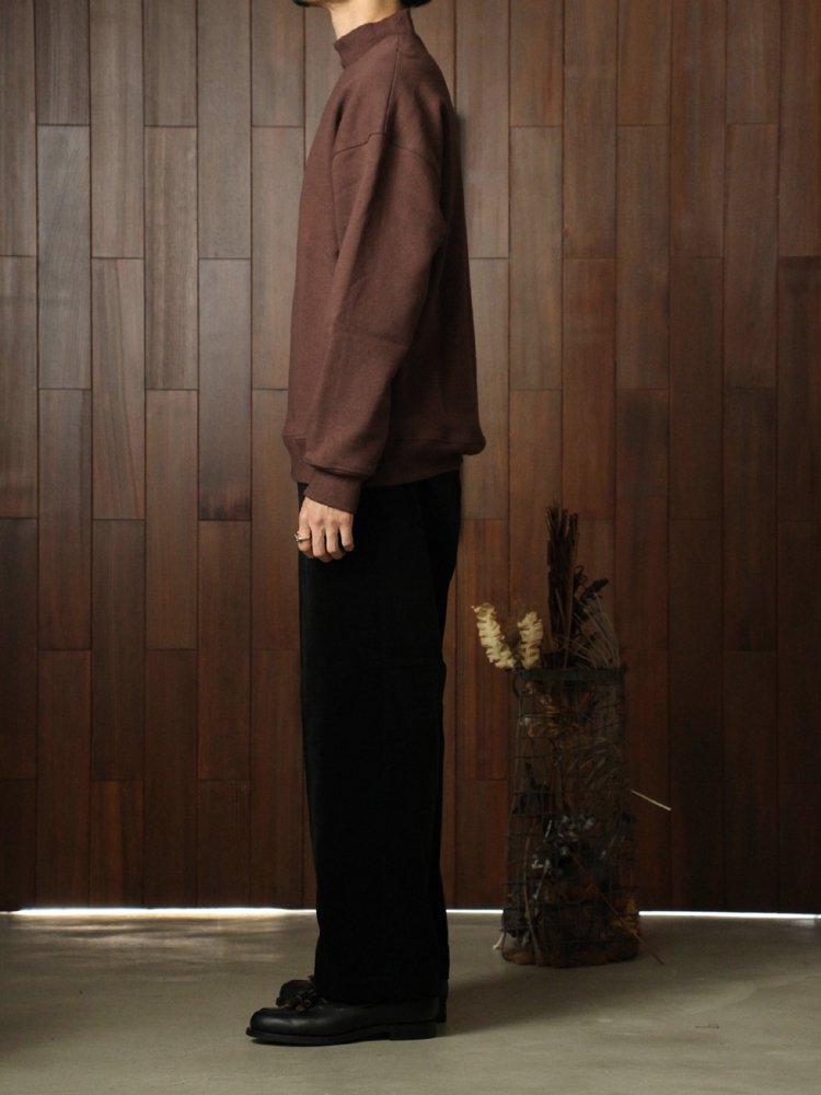 Wool Cotton Mock-neck Sweat Shirt #Maroon Brown
