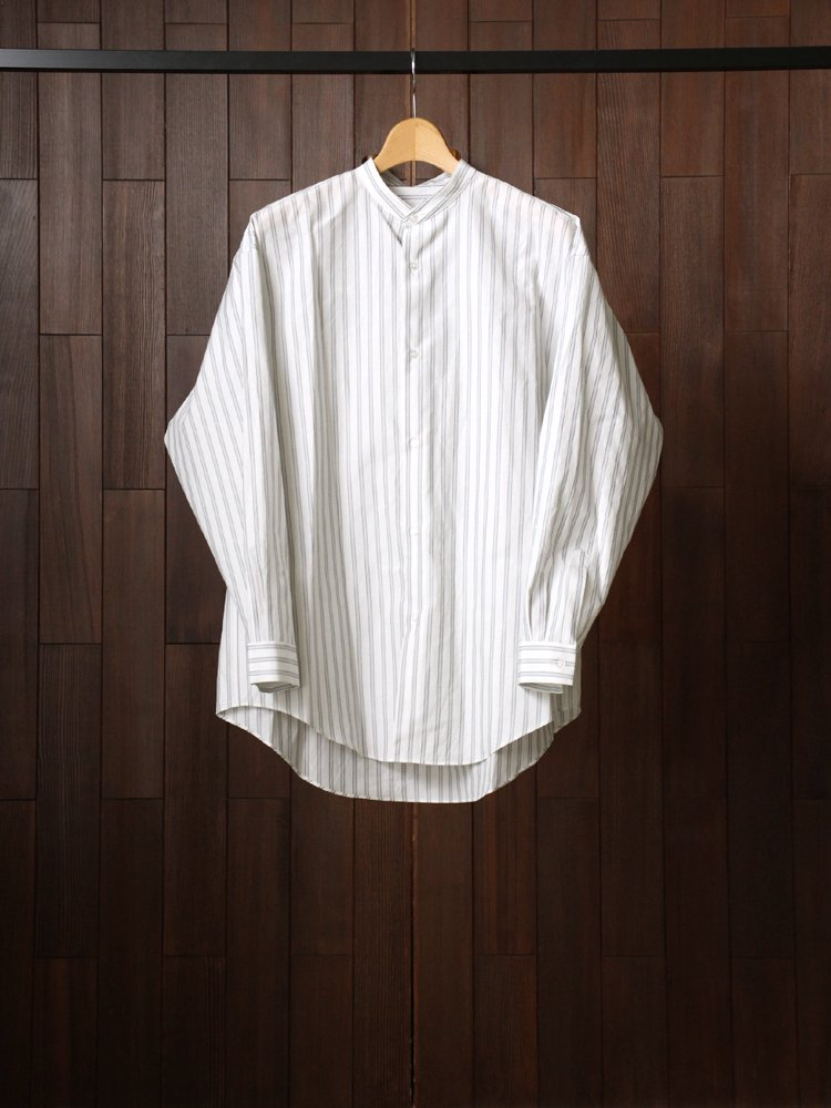 Phlannel|Cotton Silk Over Sized Band Collar Shirt #Stripe