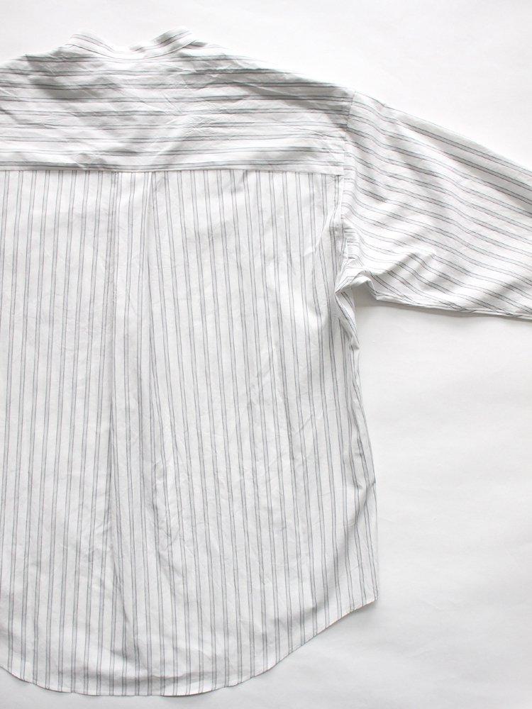 Cotton Silk Over Sized Band Collar Shirt #Stripe
