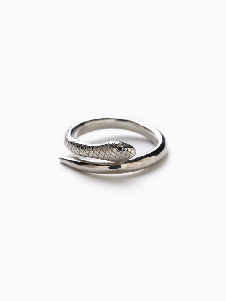 LUCIAN_SNAKE RING #SILVER/WHITE FINISH