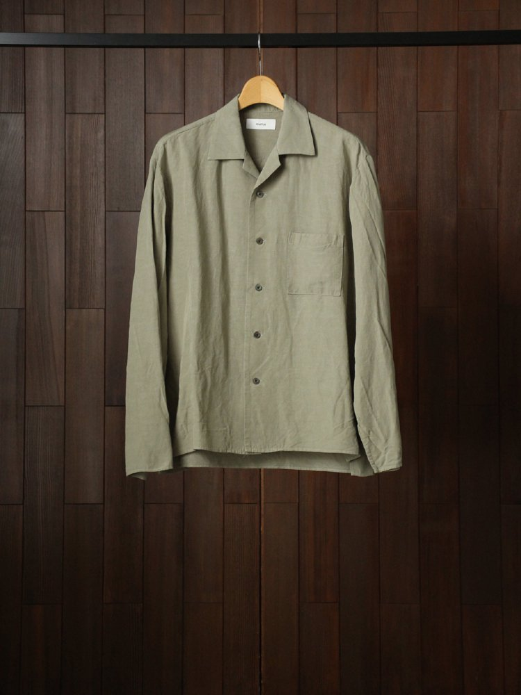 marka|SIDE SLIT OPEN COLLAR SHIRT #GREEN
