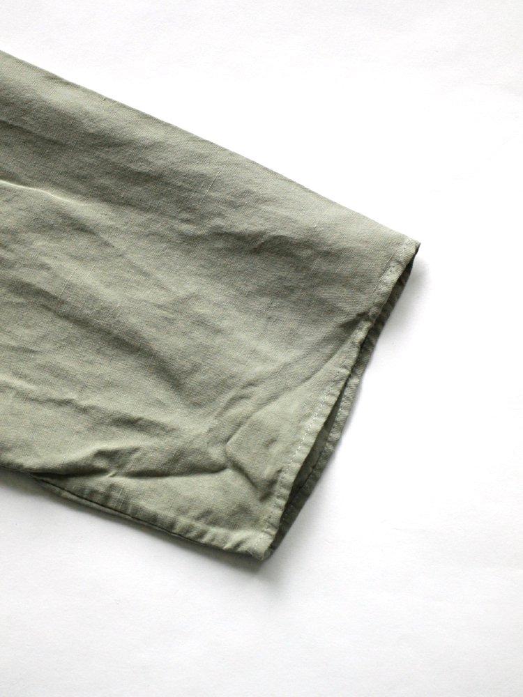 SIDE SLIT OPEN COLLAR SHIRT #GREEN