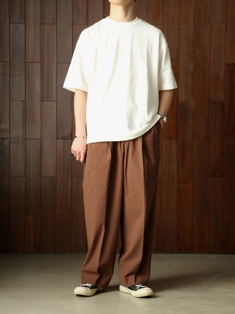 DOUBLE PLEATED TROUSERS #BROWN