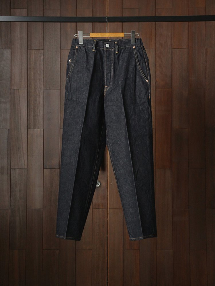 Text Straight Fit Creased Jeans #Indigo One Wash