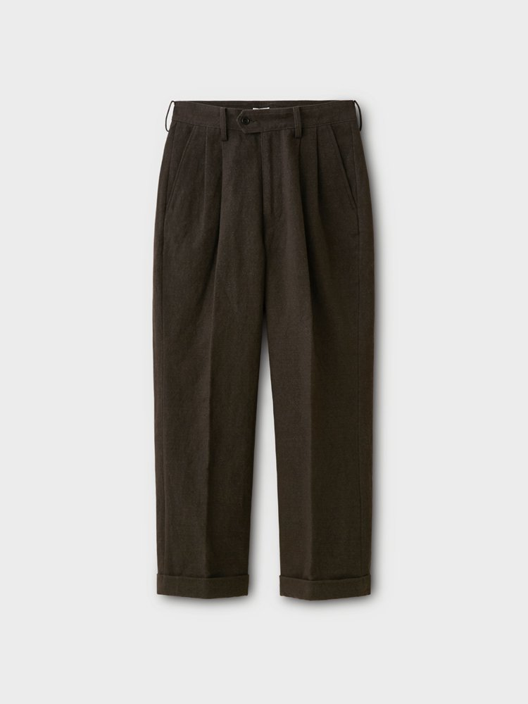 PHIGVEL MAKERS & Co.|BASKET 2TUCK TROUSERS #CARBON