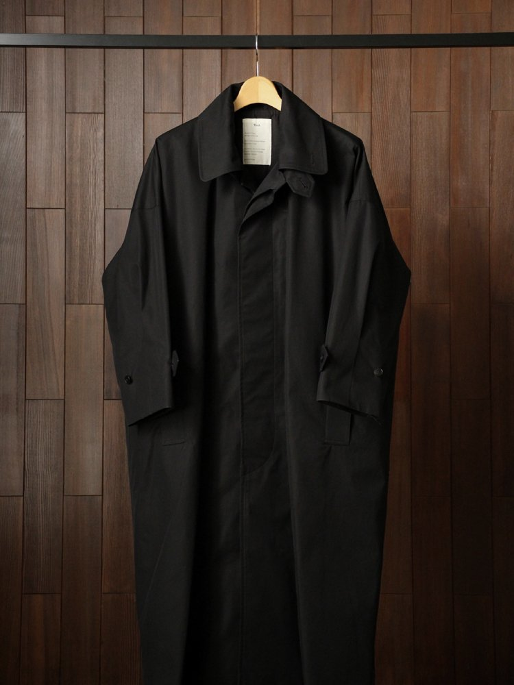Text|TrenchCoat SingleBreasted DoubleCollar #Black