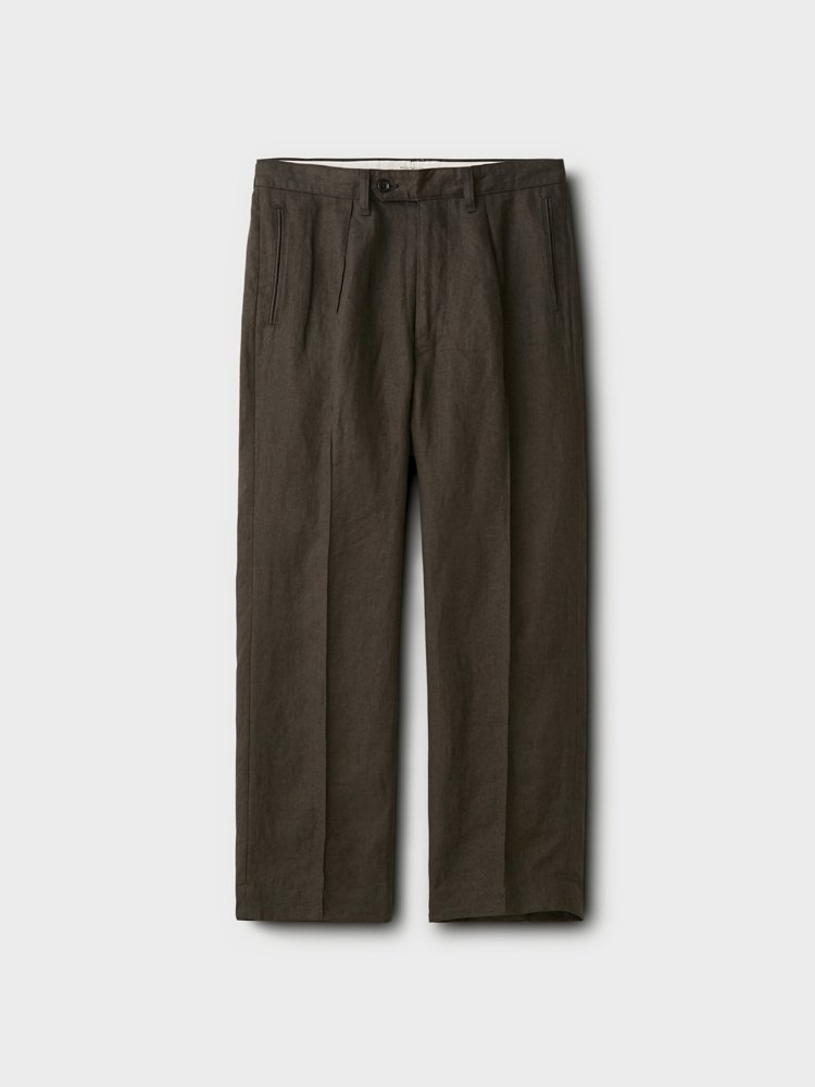 PHIGVEL MAKERS & Co. LINEN PIN TUCK TROUSERS #SEPIA GRAY