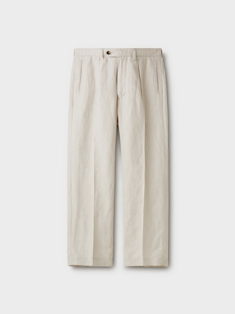 PHIGVEL MAKERS & Co.|LINEN PIN TUCK TROUSERS #IVORY
