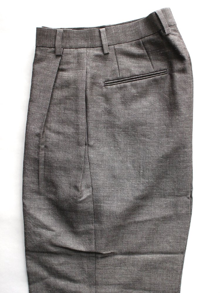 Cotton Mohair Chambray Wide Trousers #Brown Mix