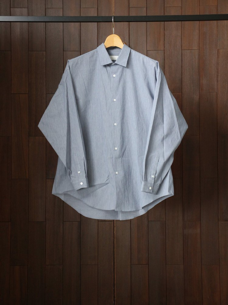 Phlannel|Cotton Voile Yarn Over Sized Shirt #Blue