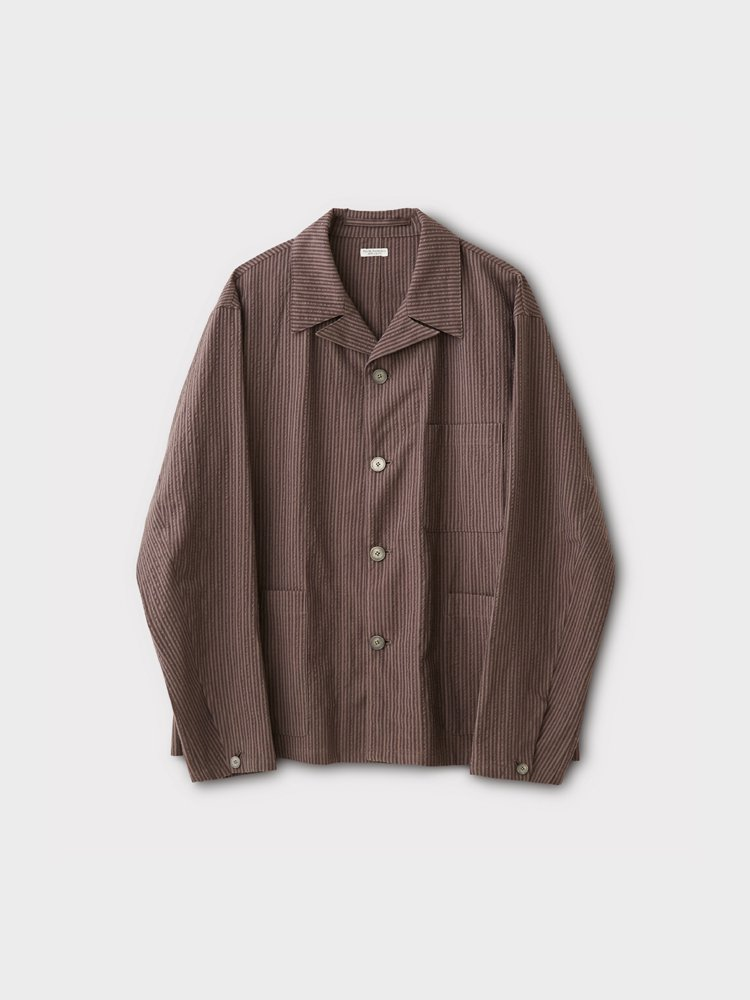 PHIGVEL MAKERS & Co.|SEERSUCKER STRIPE SACK JACKET #PURPLE BROWN