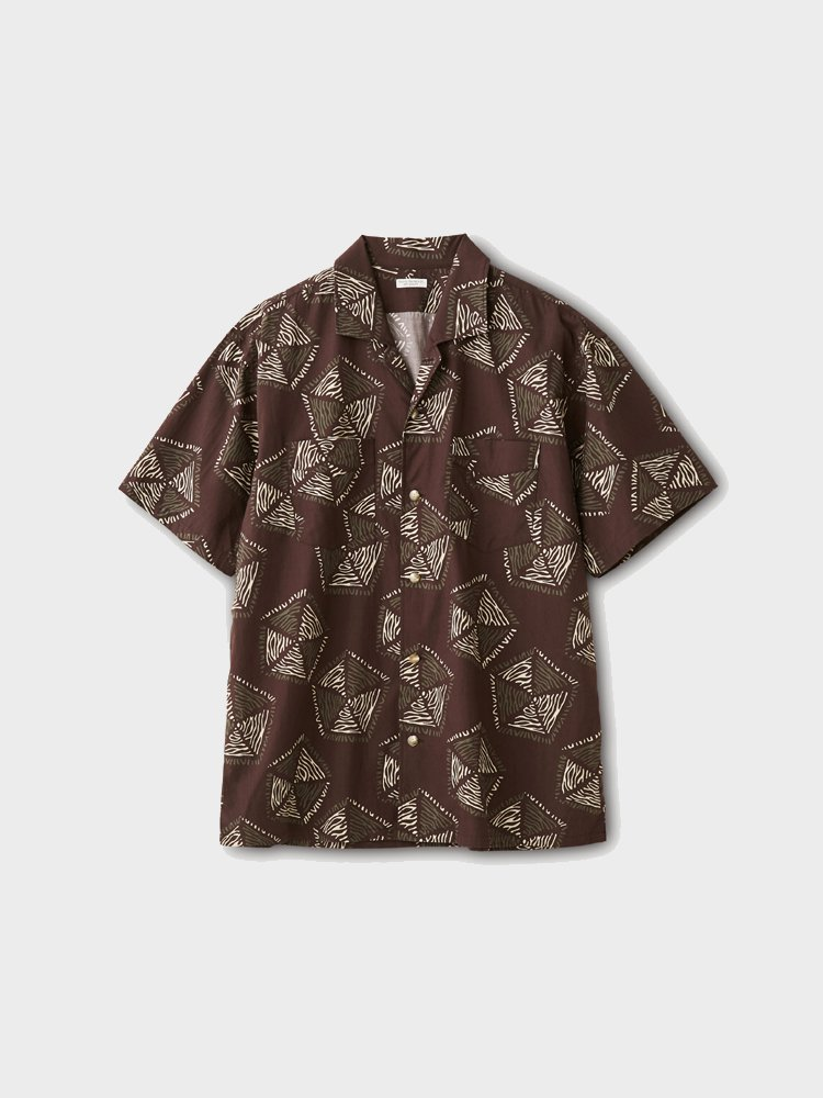 PHIGVEL MAKERS & Co. AFRICAN PATTERN SS SHIRT #PURPLE BROWN