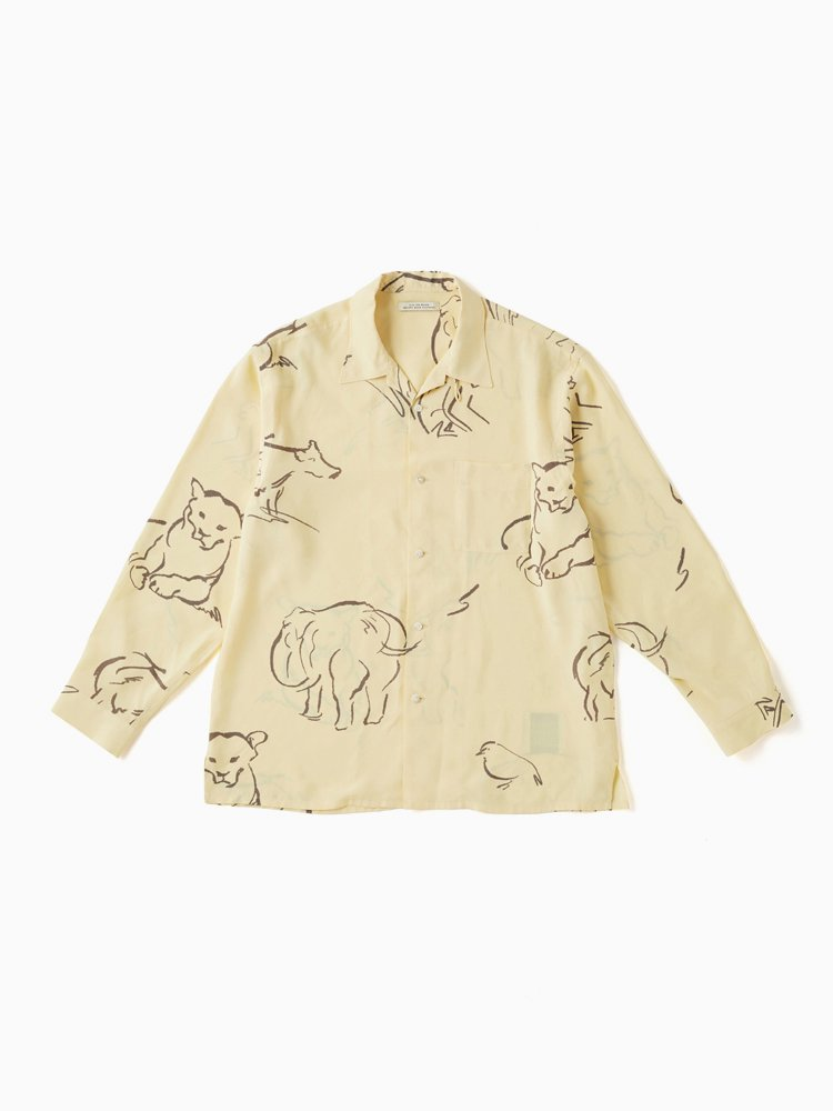 OLD JOE BRAND|OPEN COLLAR SHIRTS (DRAWING long sleeve) #CITRINE