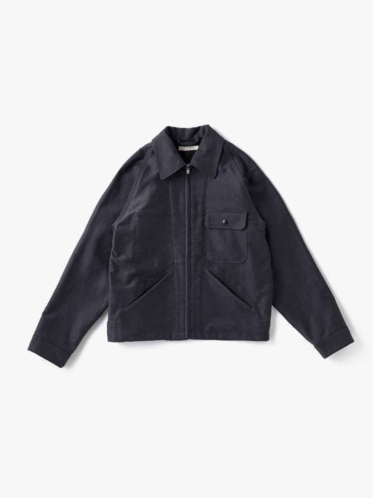 OLD JOE BRAND|ROLL-COLLAR ZIP JACKET #SLATE HERRINGBONE [202OJ-JK06]