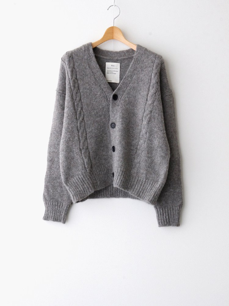 Text|BABY ALPACA CABLE CARDIGAN #GRAY [T20C-09SW01C]
