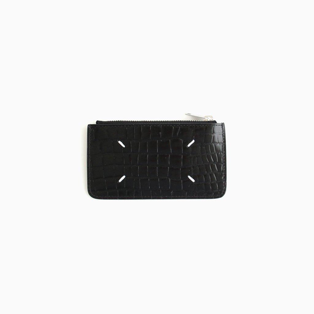 Maison Margiela |EMBOSSED CROCODILE ZIP CARD CASE #BLACK [S55UA0023]