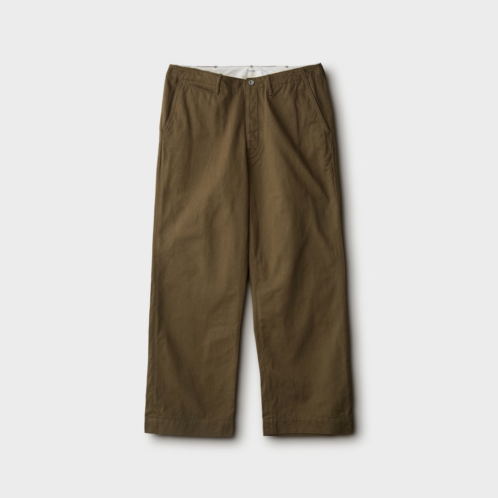 PHIGVEL MAKERS & Co.|OFFICER TROUSERS WIDE #V.OLIVE [PM-401W]