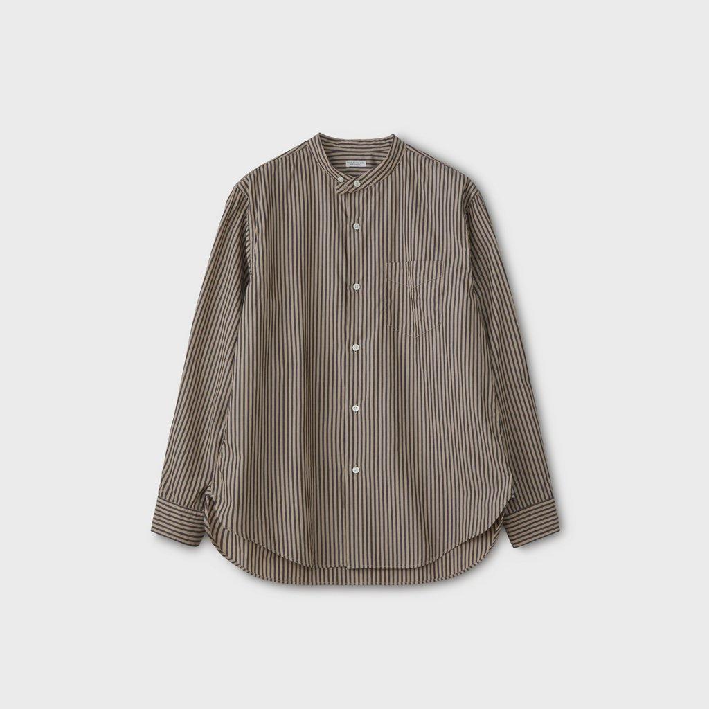 PHIGVEL MAKERS & Co.|BAND COLLAR DRESS SHIRT #BEIGE/NAVY ST [PMAL-LS02]