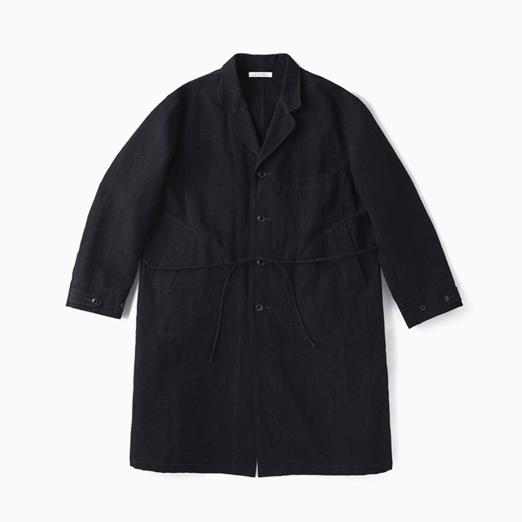 OLD JOE BRAND|ROPED WAIST ATELIER COAT #BLACK CANVAS [211OJ-JK08]