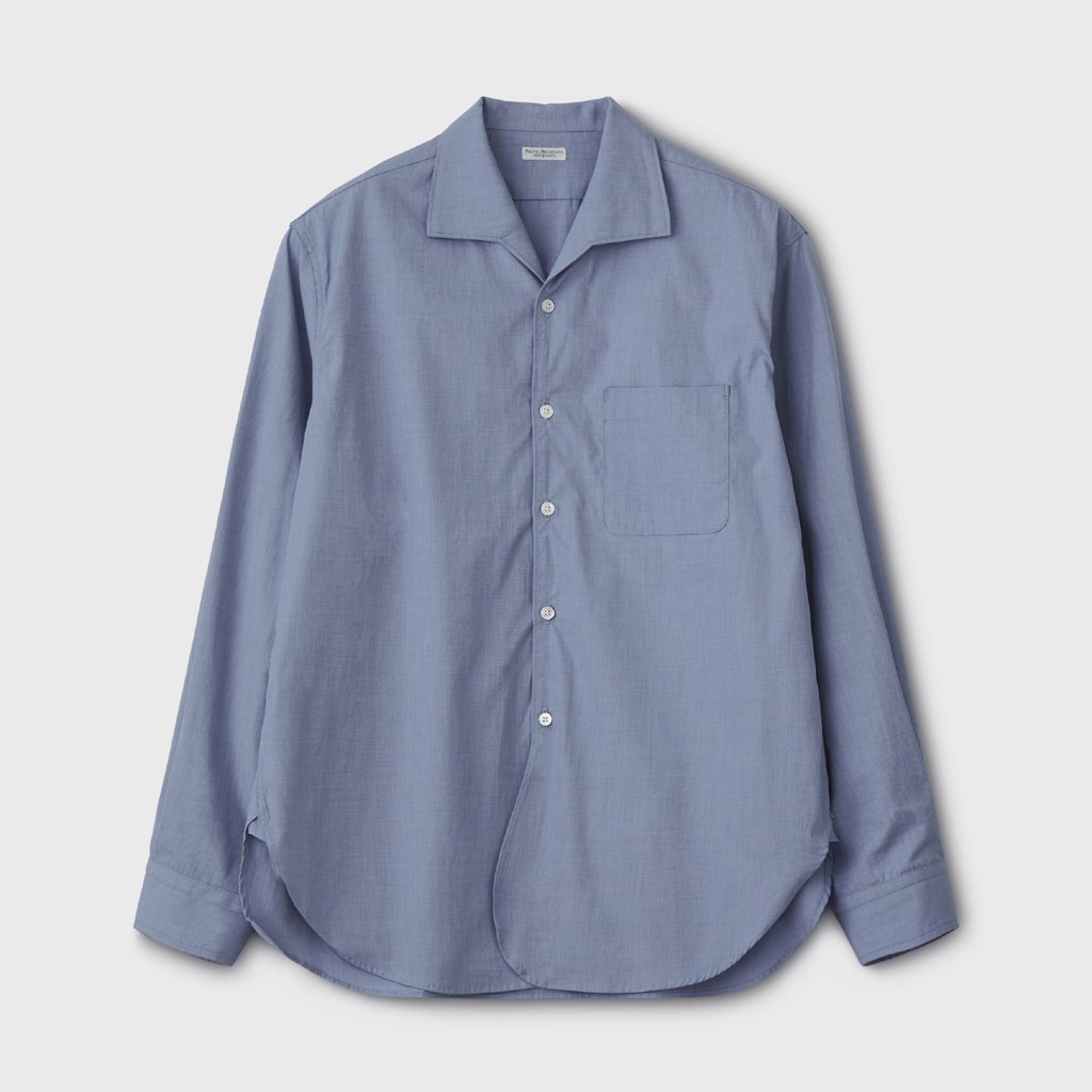PHIGVEL MAKERS & Co.|FRENCH OPEN COLLAR LS SHIRT #FRENCH BLUE [PMAL-LS03]