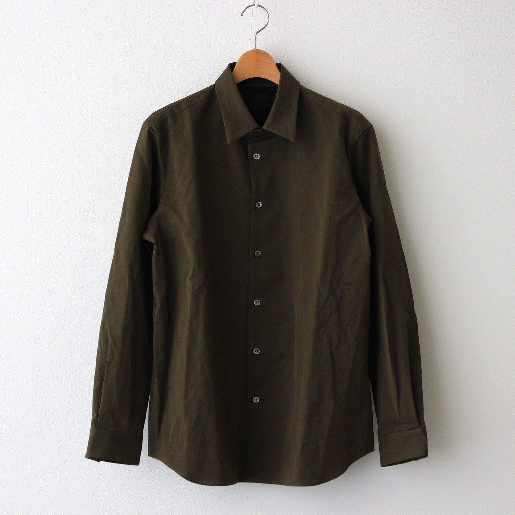 山内|塩縮加工コットンリネンシャツ 羽衿付き #OLIVE [yc41]