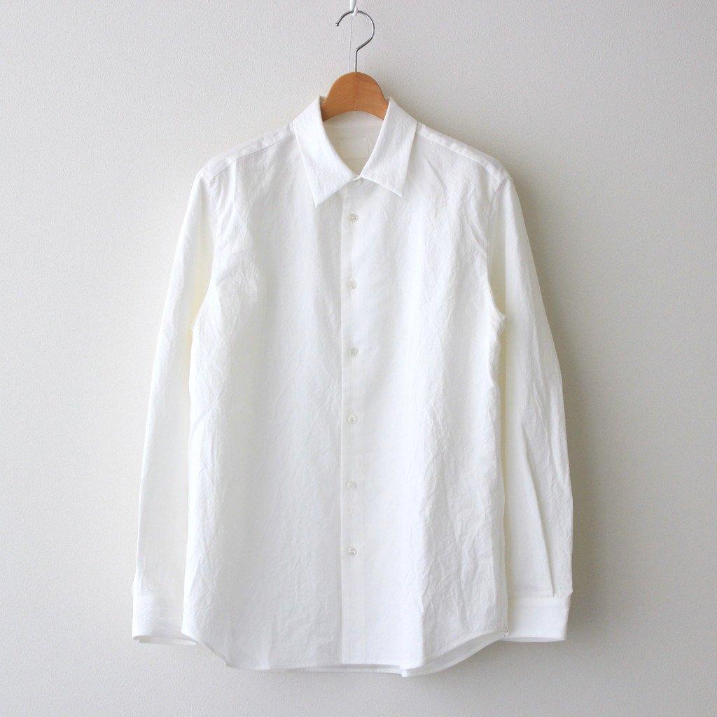 山内|塩縮加工コットンリネンシャツ 羽衿付き #WHITE [yc41]