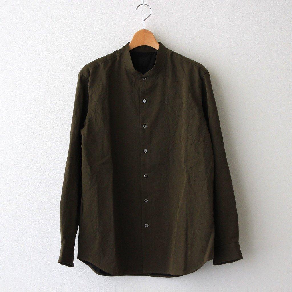 山内|塩縮加工コットンリネンシャツ 羽衿無し #OLIVE [yc41]