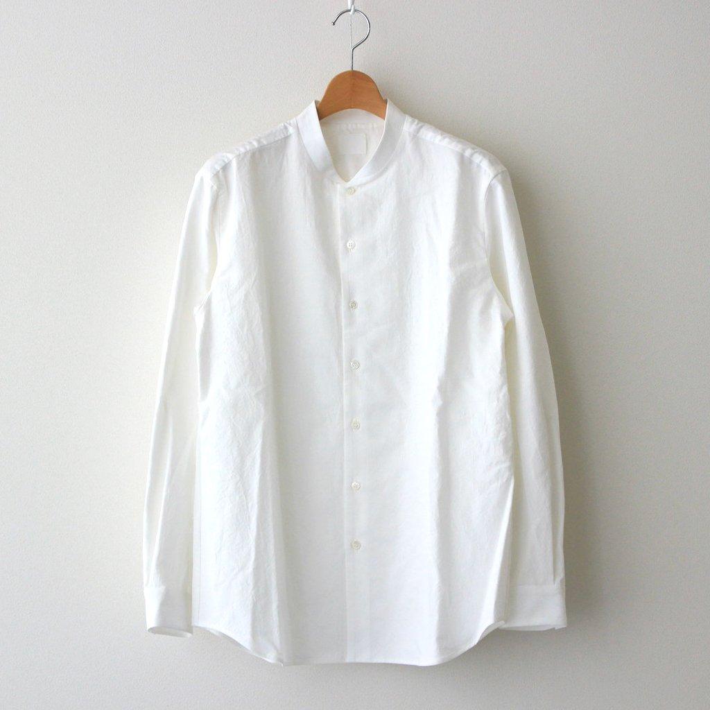 山内|塩縮加工コットンリネンシャツ 羽衿無し #WHITE [yc41]