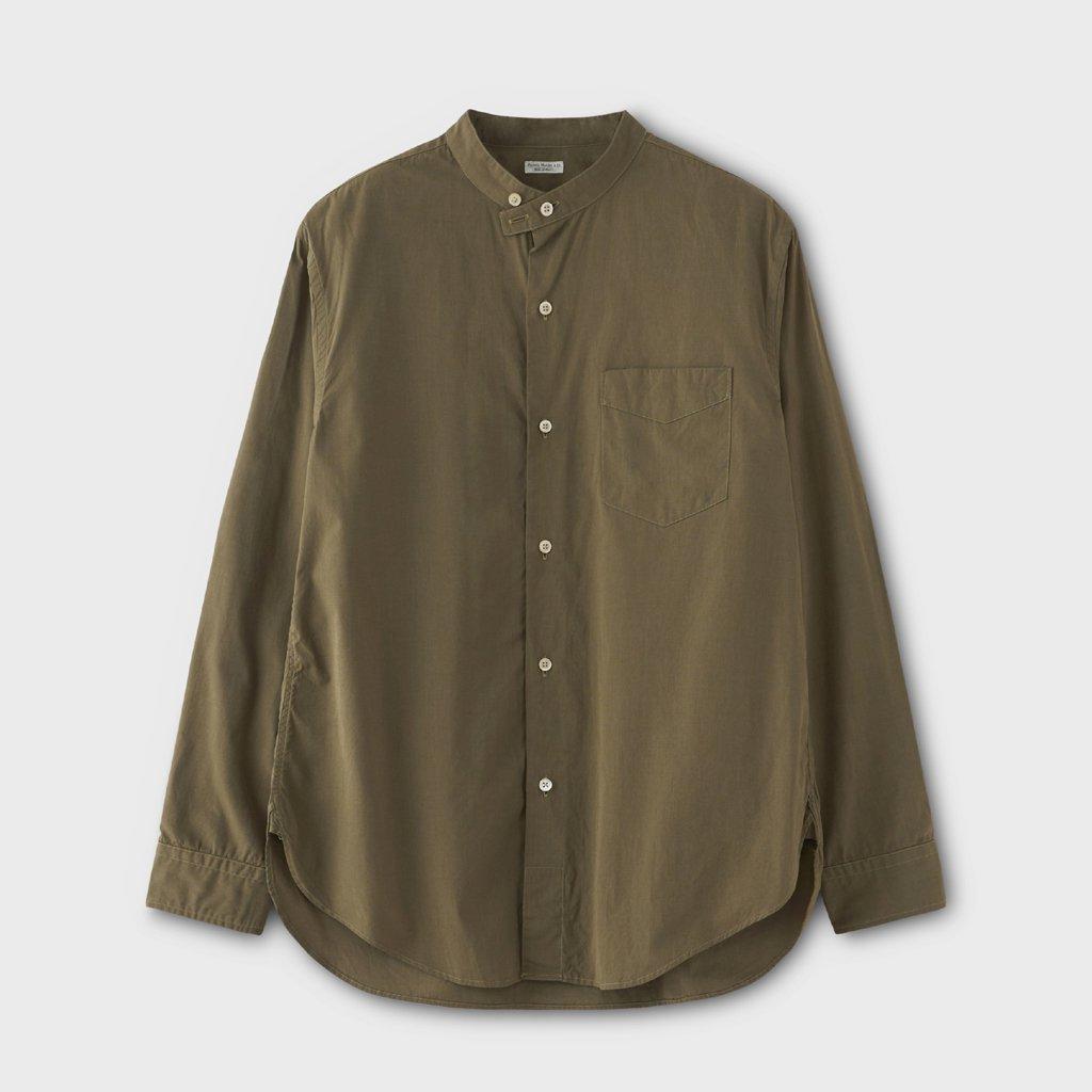 PHIGVEL MAKERS & Co. BAND COLLAR DRESS SHIRT #OLIVE [PMAM-LS02]